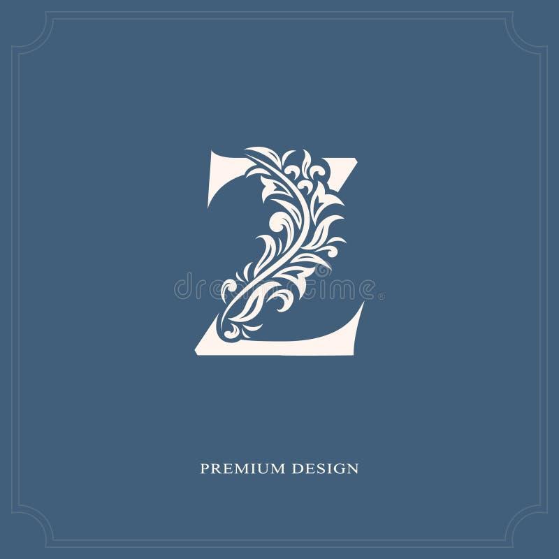 典雅的信件Z 优美的皇家样式 书法美好的商标 葡萄酒书设计的,名牌,事务加州被画的象征 向量例证