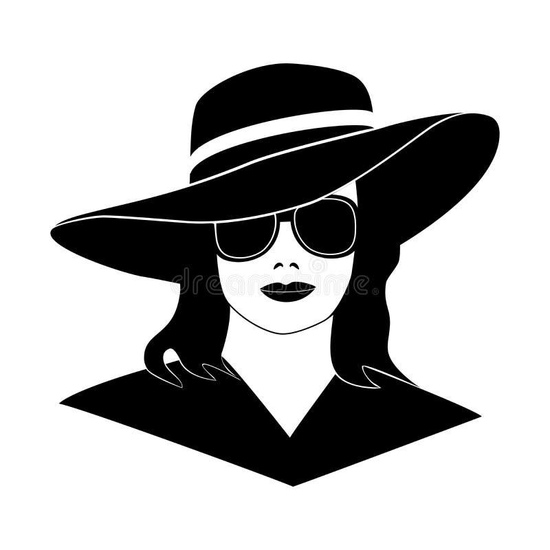 典雅的减速火箭的帽子的,在白色背景,设计商标,标志,横幅的模板嘲笑的黑被隔绝的剪影少女女孩 皇族释放例证