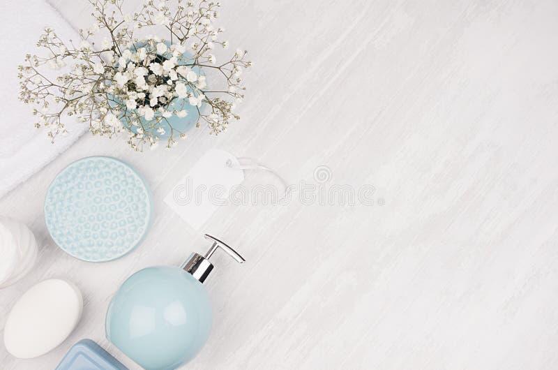 典雅的化妆用品套秀丽关心的辅助部件-肥皂、毛巾、肥皂分配器和圈子淡色蓝色碗,银色化妆用品 库存照片