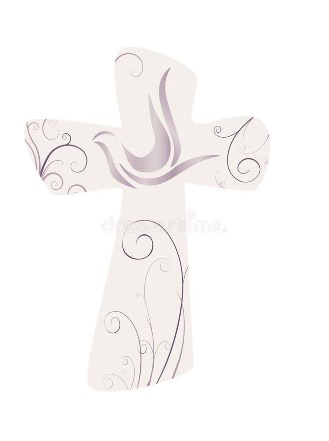 典雅的十字架和鸠 基督徒符号 向量例证
