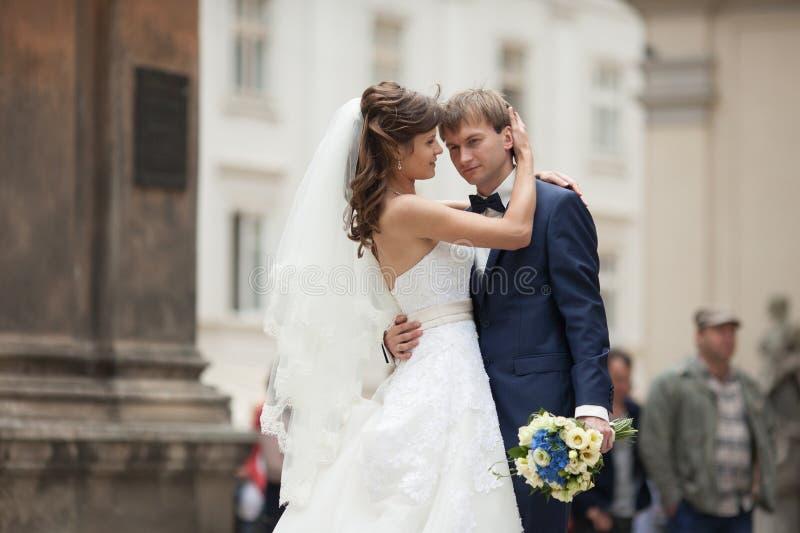 典雅的华美的愉快的站立在backgroun的新娘和新郎 图库摄影