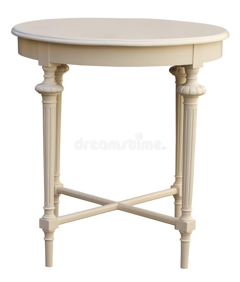 典雅的古色古香的圆的咖啡桌被隔绝在白色 库存照片