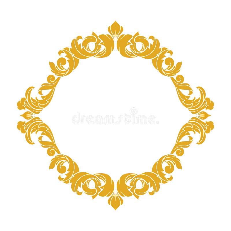 典雅的圆经典之作装饰花卉装饰葡萄酒漩涡框架主题 皇族释放例证