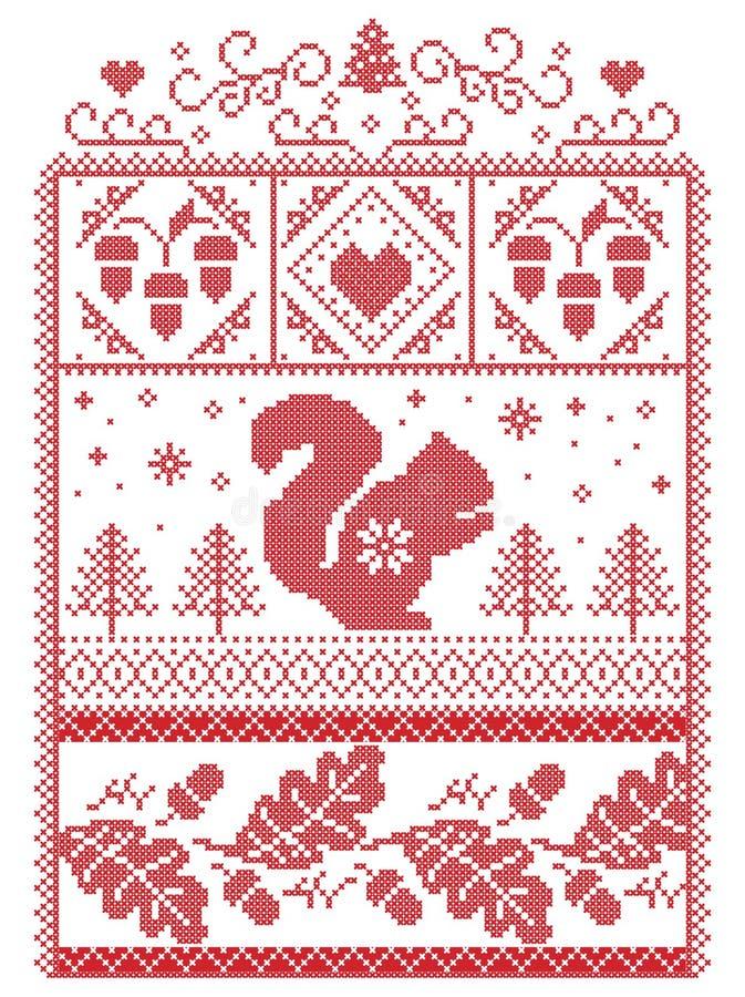 典雅的圣诞节斯堪的纳维亚人,北欧样式冬天缝,样式包括雪花,心脏,灰鼠,橡子,橡木叶子 库存例证