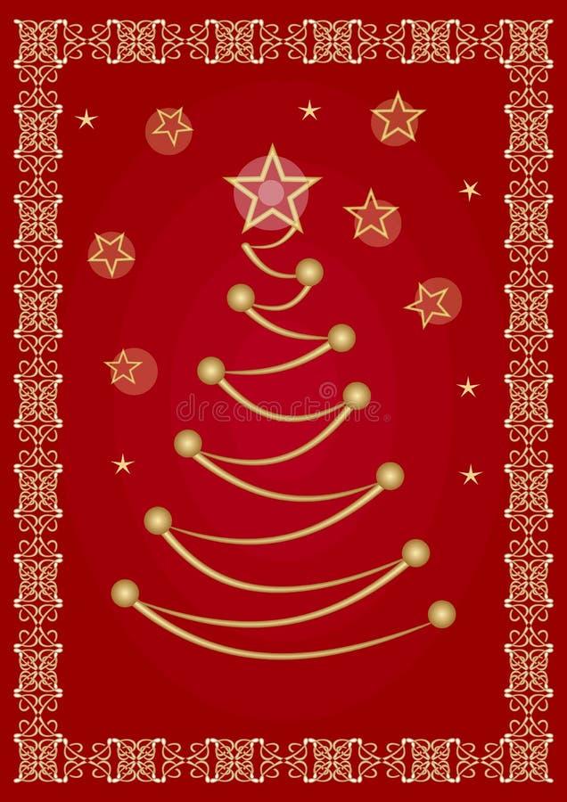 典雅的圣诞节飞行物或公司贺卡模板与风格化金黄树图画和葡萄酒金黄金银细丝工的边界 库存例证