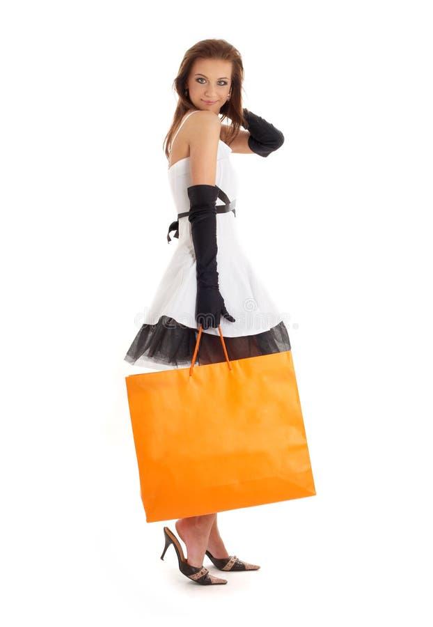 典雅的夫人桔子shopp 免版税库存照片