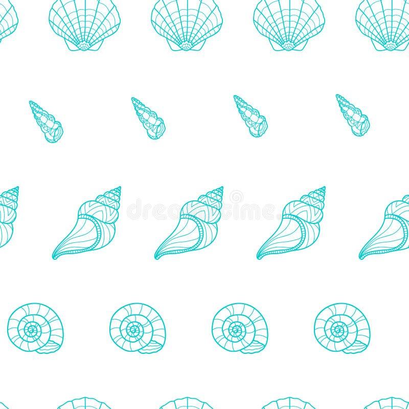 典雅的女性贝壳背景,壳,扇贝,浪漫假期水中无缝的样式,绿松石夏天设计- 向量例证