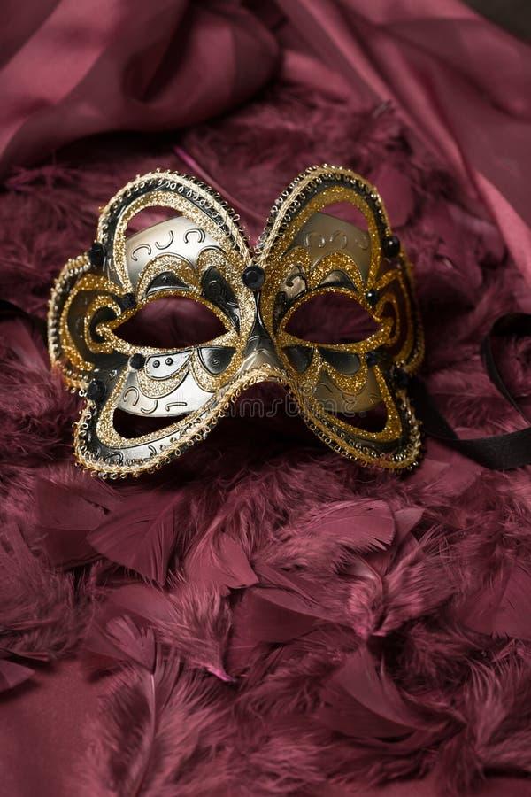 典雅的威尼斯式面具的图象在闪烁背景的 免版税库存照片