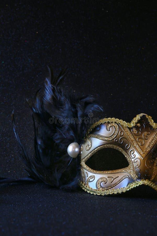 黑典雅的威尼斯式面具的图象在闪烁背景的 免版税图库摄影