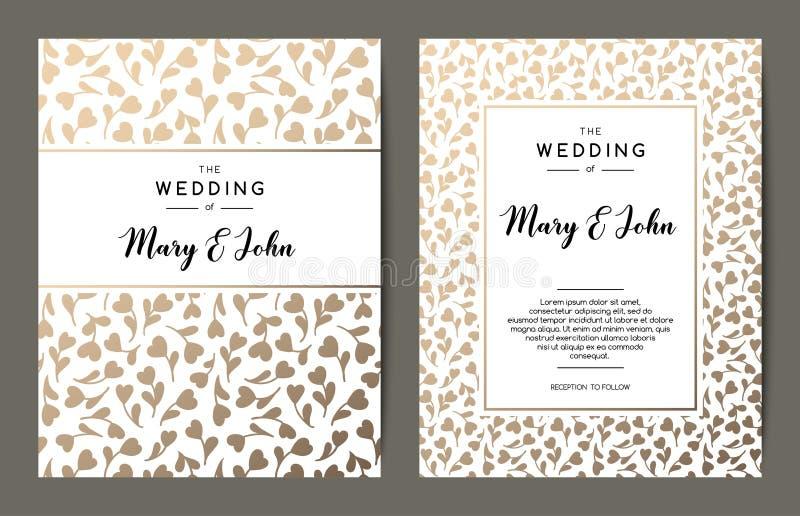 典雅的婚礼邀请背景 与金花饰的卡片设计 库存例证
