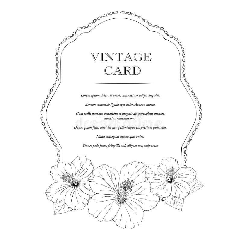 典雅的婚礼邀请设计,贺卡,横幅 与木槿花的框架 也corel凹道例证向量 库存例证