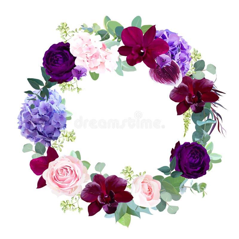 典雅的季节性黑暗的花传染媒介设计婚礼框架 向量例证