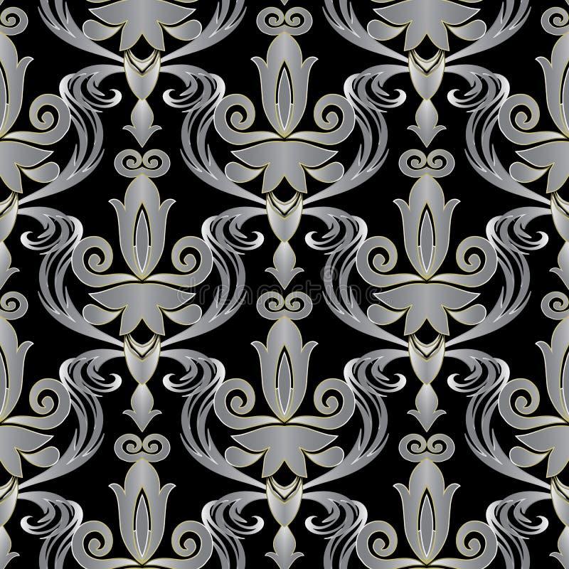 典雅的巴落克式样3d无缝的样式 传染媒介华丽花卉backgr 向量例证