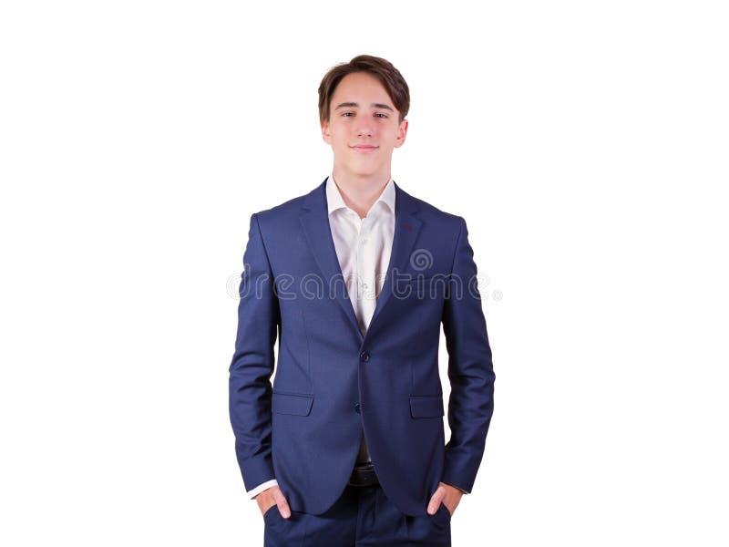 典雅的年轻人画象衣服和蝶形领结的,隔绝在白色背景 库存图片