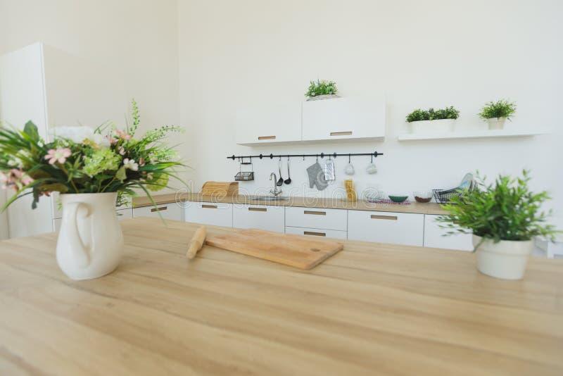 典雅的当代厨房内部看法  没有人民 免版税图库摄影