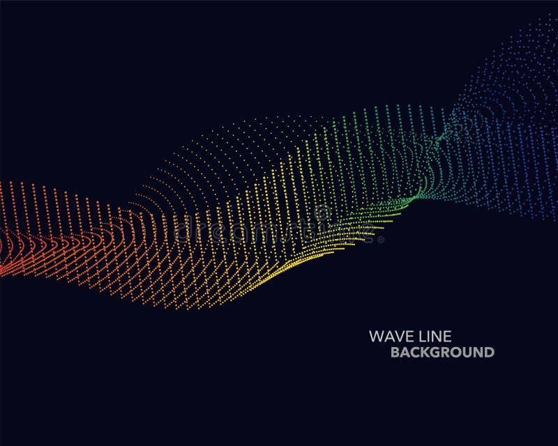 典雅的抽象传染媒介光谱彩虹梯度波浪小点线 向量例证