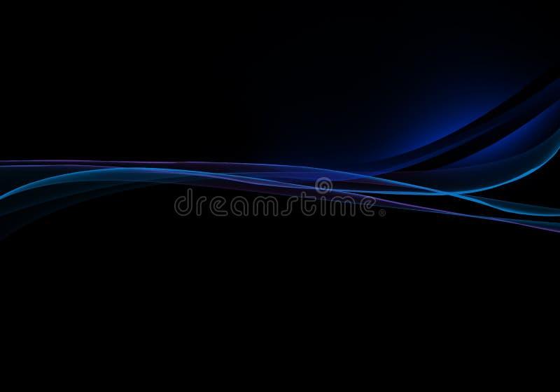 典雅的抽象蓝色和黑背景设计 向量例证
