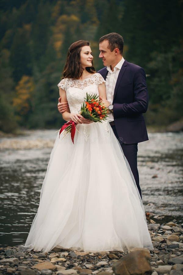 典雅的时髦的愉快的深色的新娘和华美的新郎一条美丽的河的背景的 库存照片