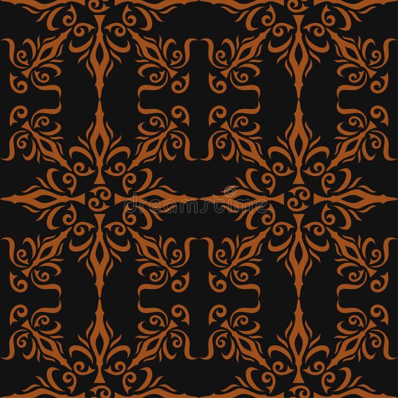 典雅的时髦的抽象花卉墙纸。无缝的样式背景。大马士革豪华墙纸样式。传染媒介 库存例证