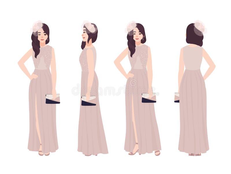 典雅的晚礼服的美丽的少妇 时兴的正式成套装备 被隔绝的华美的母卡通人物  向量例证