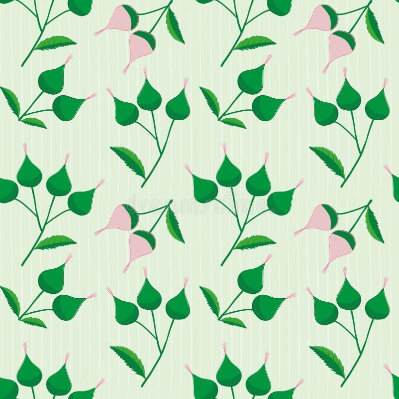 典雅的桃红色和绿色手拉的芽在微妙地镶边浅绿色的背景 老练葡萄酒无缝的传染媒介 皇族释放例证