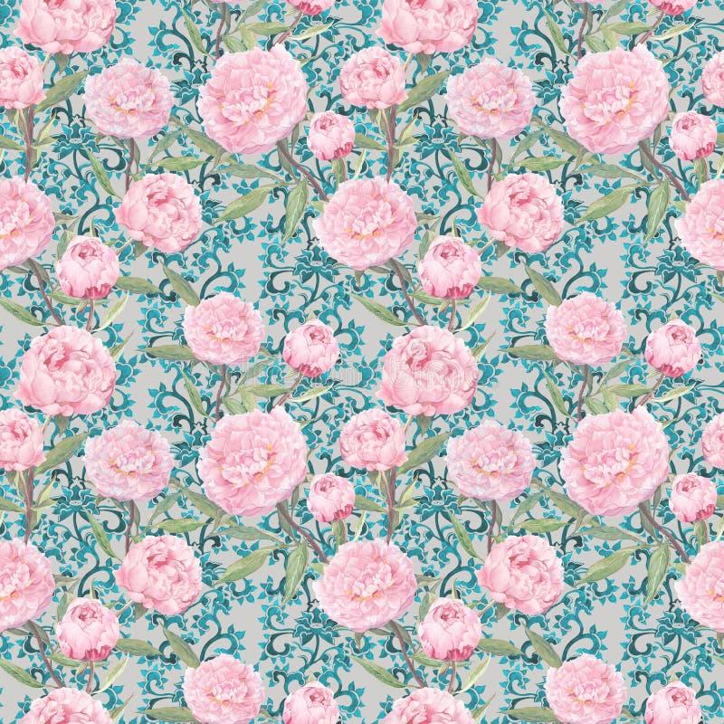 典雅的桃红色牡丹花 花卉重复的样式,华丽鞋带装饰 水彩 库存照片