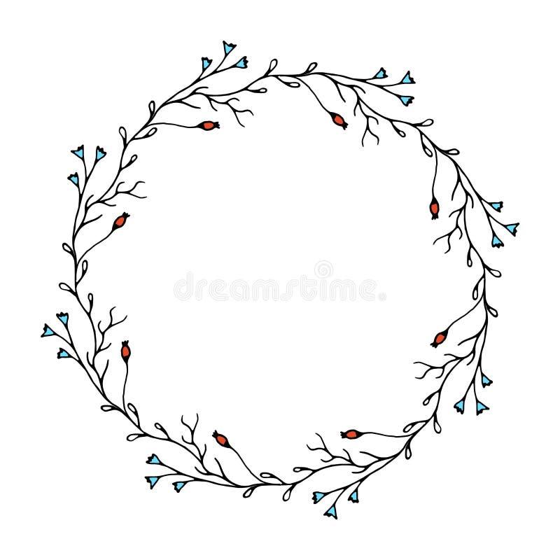 典雅的植物的花圈 向量例证