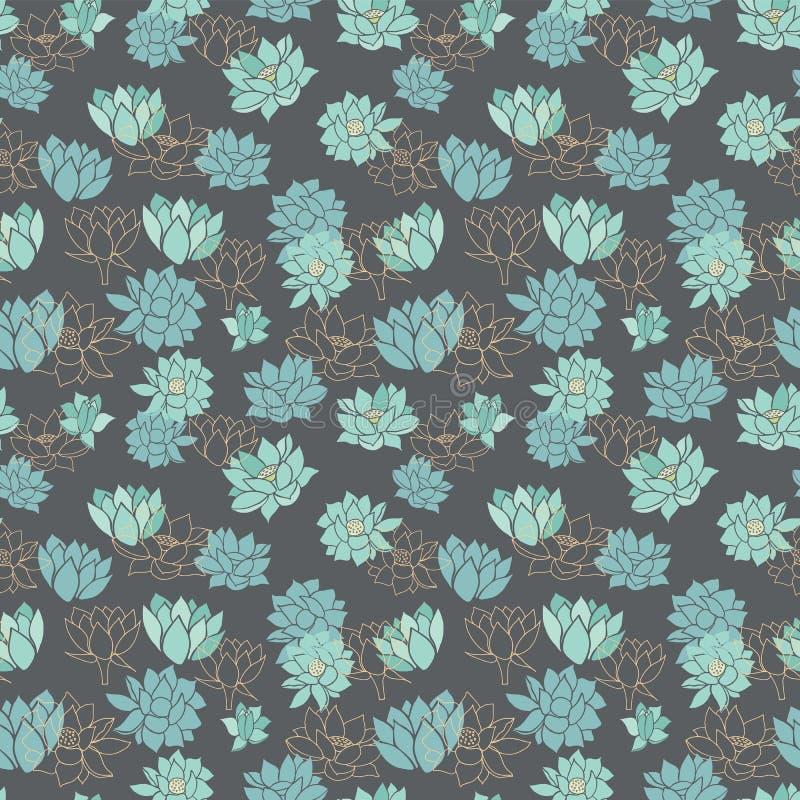 典雅的现代蓝色waterlilies或莲花在深灰背景传染媒介无缝的样式 库存例证