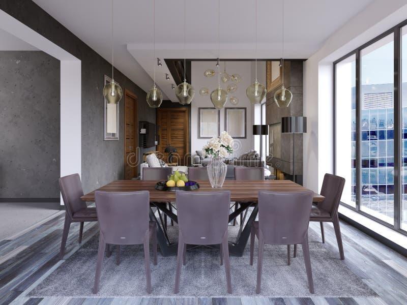 典雅的现代餐厅内部 用餐家庭豪华空间 厨房,顶楼公寓用餐和客厅  向量例证