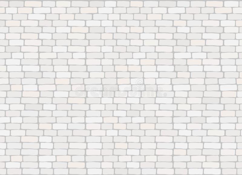 典雅的现实时髦白色砖墙背景纹理 库存例证