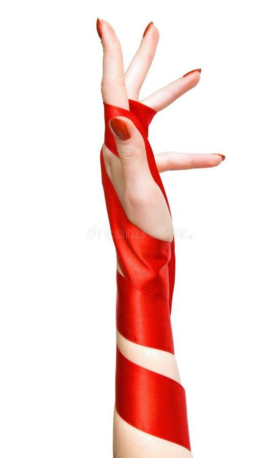 典雅的现有量红色丝带妇女 库存图片