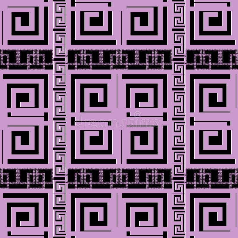 典雅的紫罗兰色希腊关键河曲几何无缝的样式 mod 向量例证
