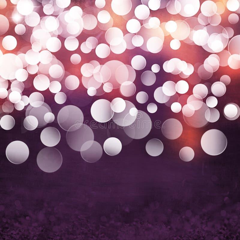 典雅的织地不很细难看的东西紫色,金子,桃红色圣诞灯Bokeh背景 免版税库存图片