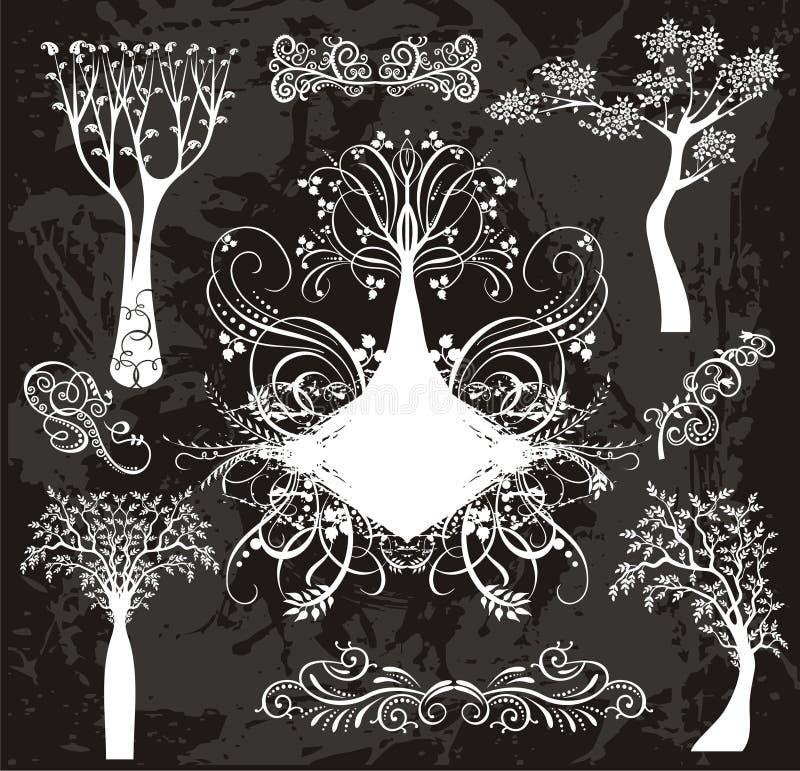 典雅的结构树集 向量例证