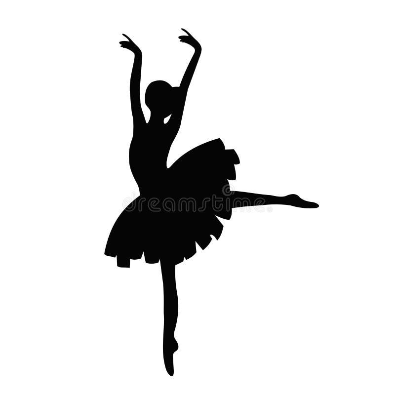 典雅的芭蕾舞女演员传染媒介剪影  舞蹈家象 向量例证