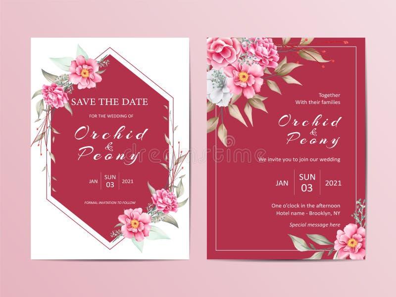 典雅的花卉婚姻的邀请模板集合 红色背景和水彩花卡片 向量例证