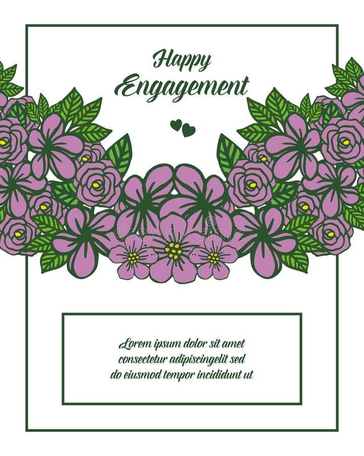 典雅的花框架的传染媒介例证装饰愉快的订婚 库存例证