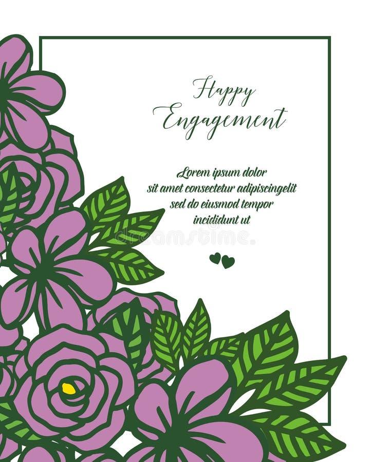 典雅的花框架的传染媒介例证装饰愉快的订婚 向量例证