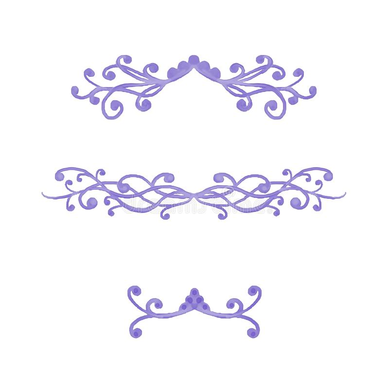 典雅的花梢紫色为段或章节分切器或文本强调标志,藤卷曲并且打旋 皇族释放例证