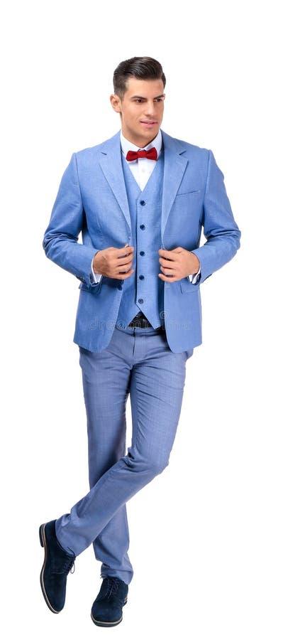 典雅的衣服的英俊的人 免版税库存照片
