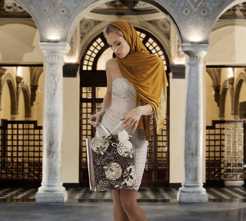 典雅的袋子她的查找购物的夫人 免版税库存图片