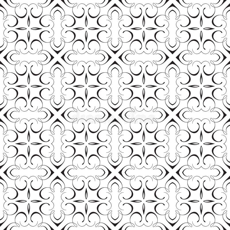 典雅的锦缎书法装饰几何华丽花梢重复的无缝的传染媒介样式背景设计 皇族释放例证