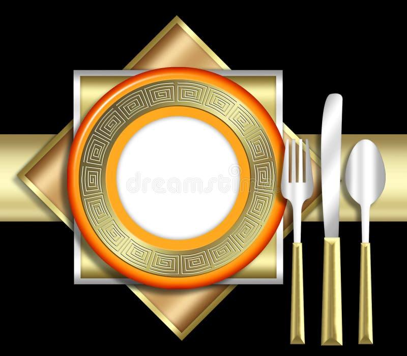 典雅的餐位餐具 皇族释放例证