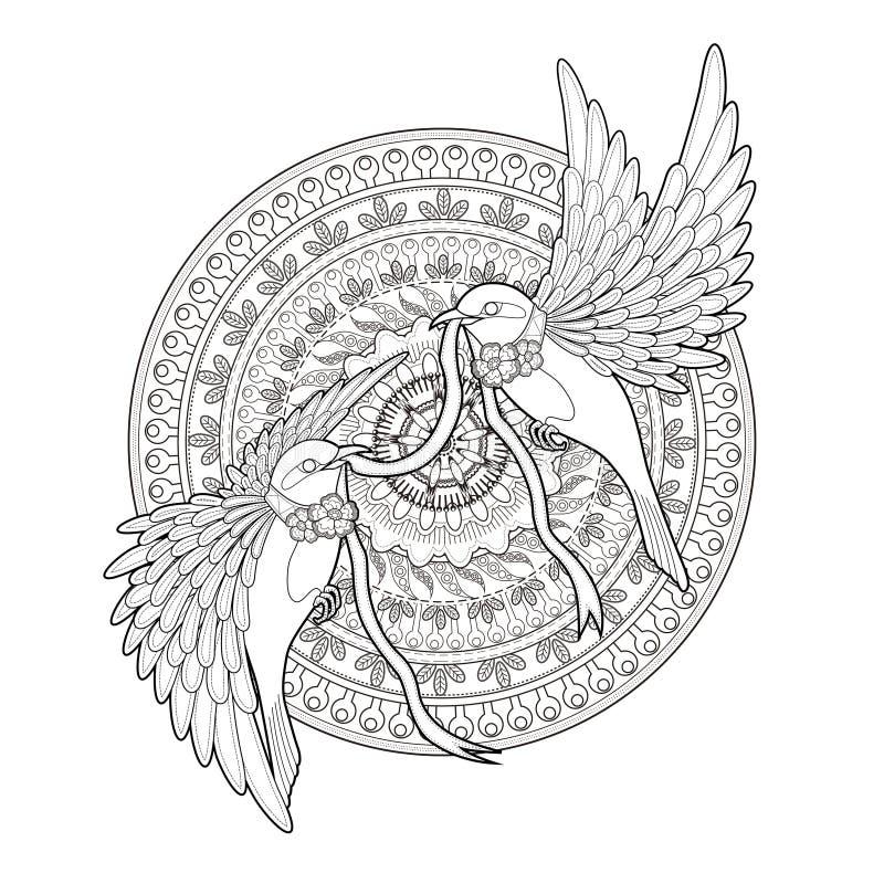 典雅的鸟着色页 库存例证