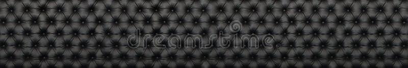 典雅的黑皮革纹理全景与按钮的patte的 免版税库存照片