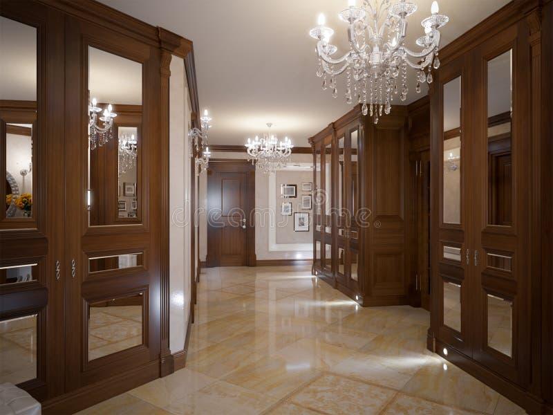 典雅的经典和豪华大厅室内设计 免版税库存照片