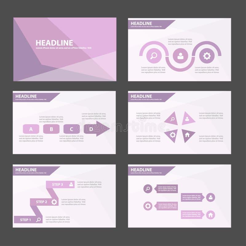 典雅的紫色蓝色infographic元素和象介绍模板平的设计为小册子飞行物传单网站设置了 向量例证
