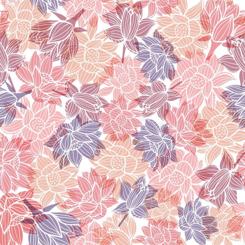 典雅的waterlilies或莲花与透明交叠作用无缝的样式背景纹理在一现代五颜六色 皇族释放例证