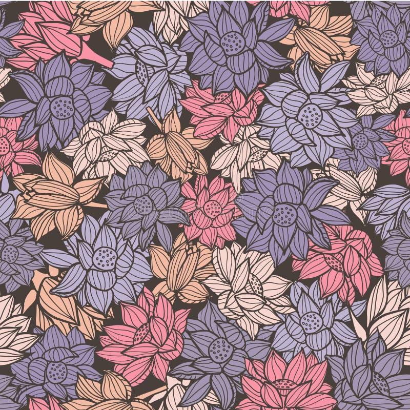 典雅的waterlilies或莲花无缝的样式背景纹理在一个现代五颜六色的样式 向量 向量例证