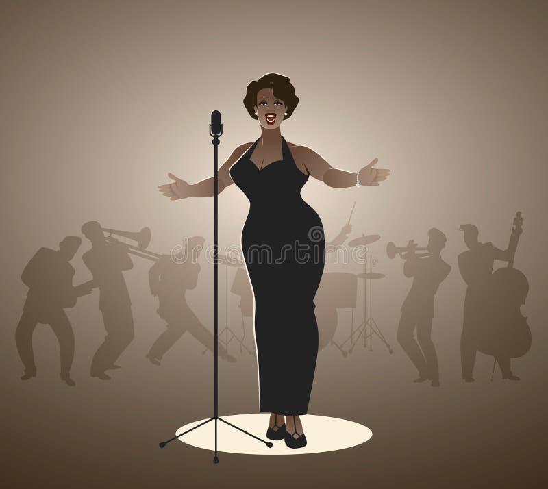典雅,弯曲和性感爵士乐歌手妇女唱歌 皇族释放例证